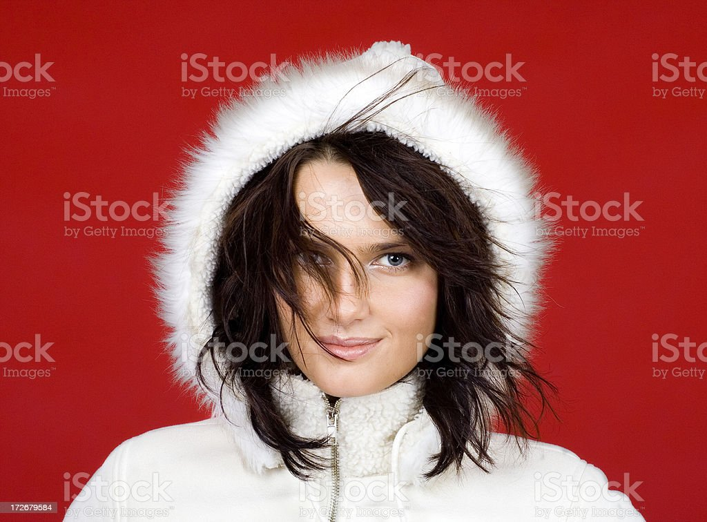 Beauty woman - winter red background stock photo