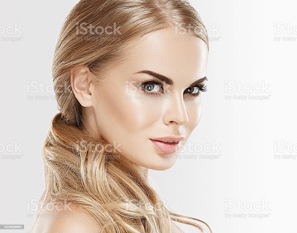 Beauty woman with blonde hair skin care portrait stock photo