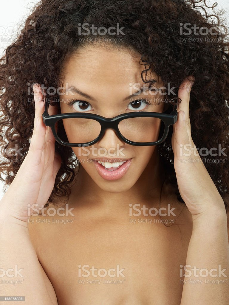 Beauty woman with funny glasses royalty-free stock photo