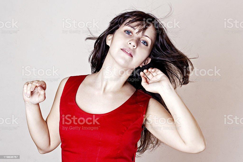Mujer de belleza con Photoshop en el viento foto de stock libre de derechos