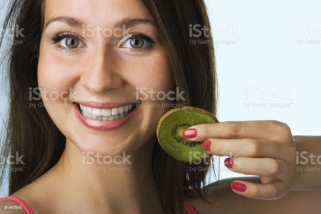 beauty woman with kiwi royalty-free stock photo