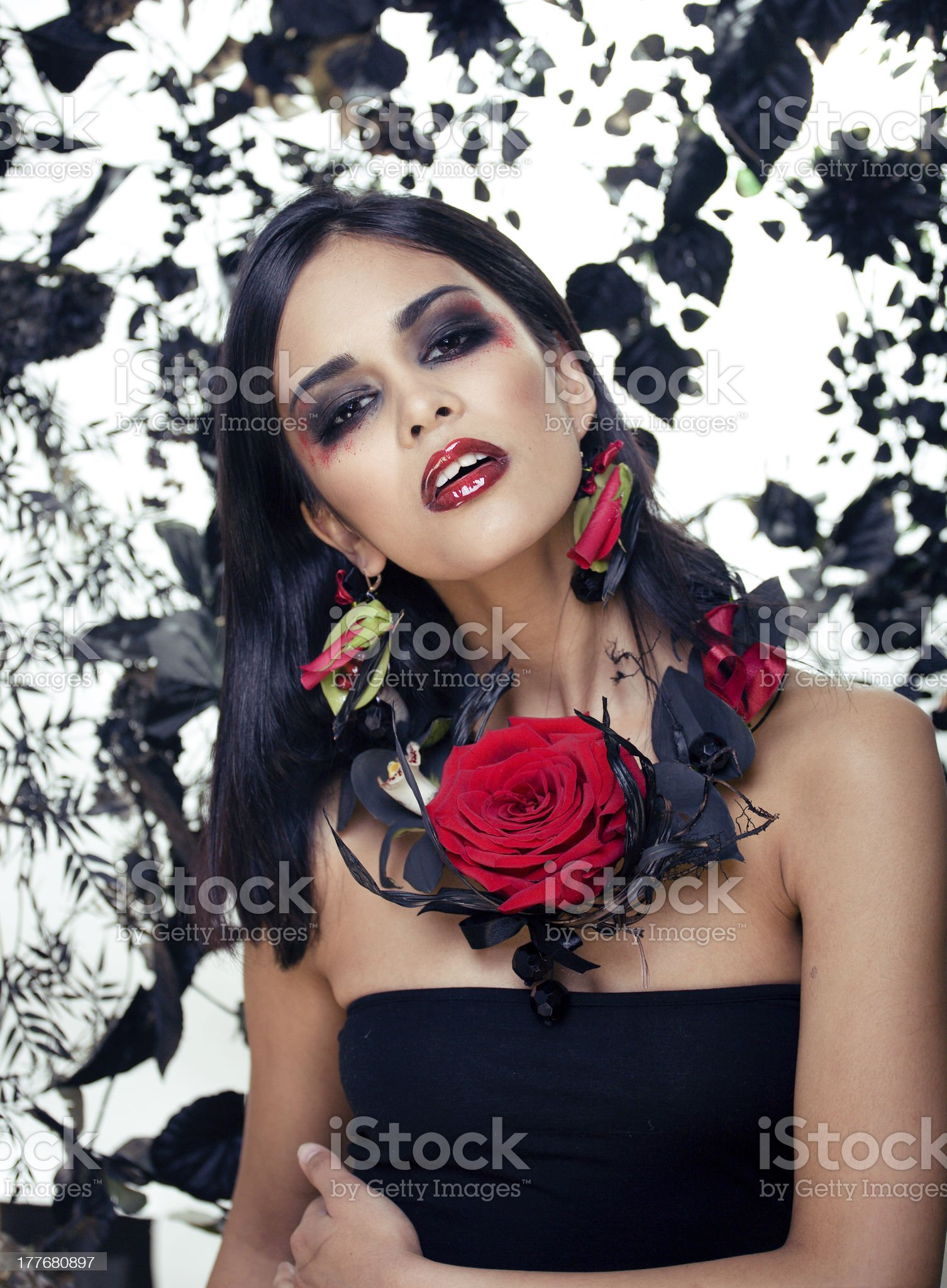 beauty woman with make up and rose jewelry royalty-free stock photo