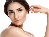Beauty Woman with perfect skin Portrait. Empty space for text.