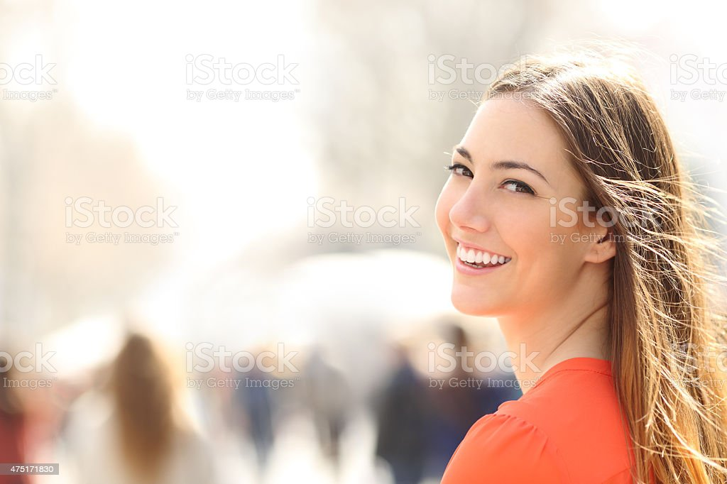 Beauty woman with perfect smile and white teeth stock photo