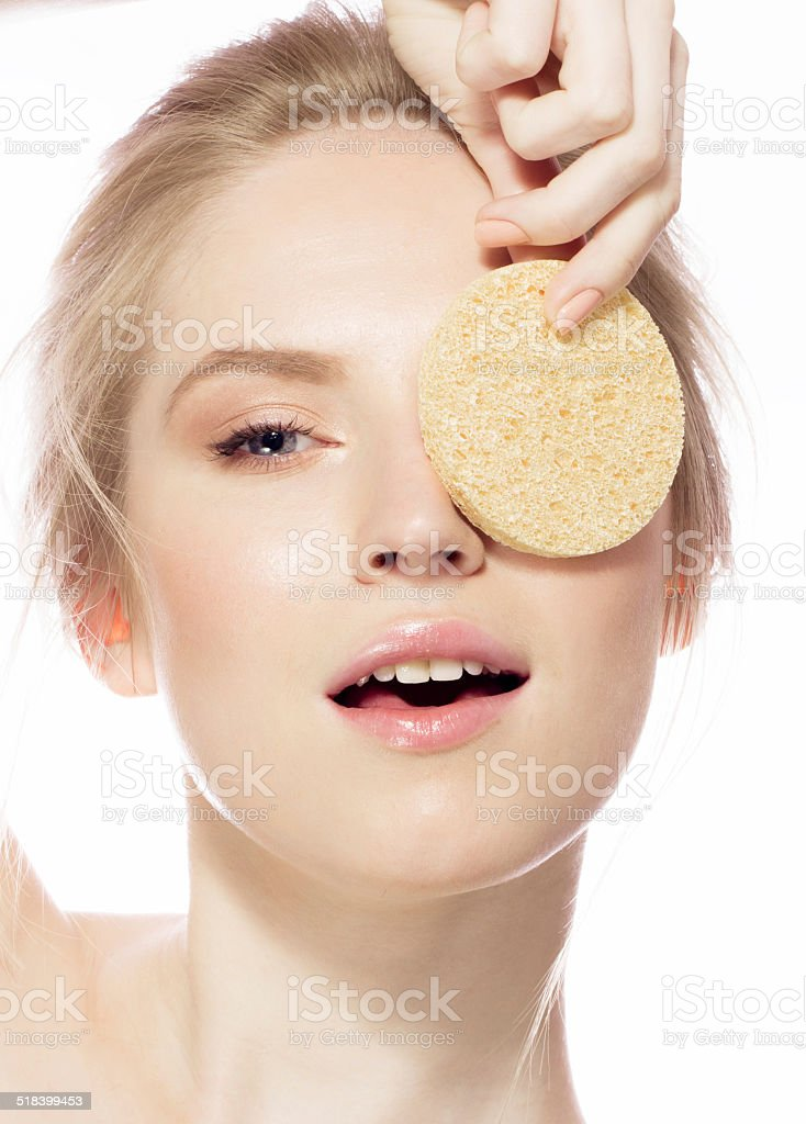 Beauty woman with sponge stock photo
