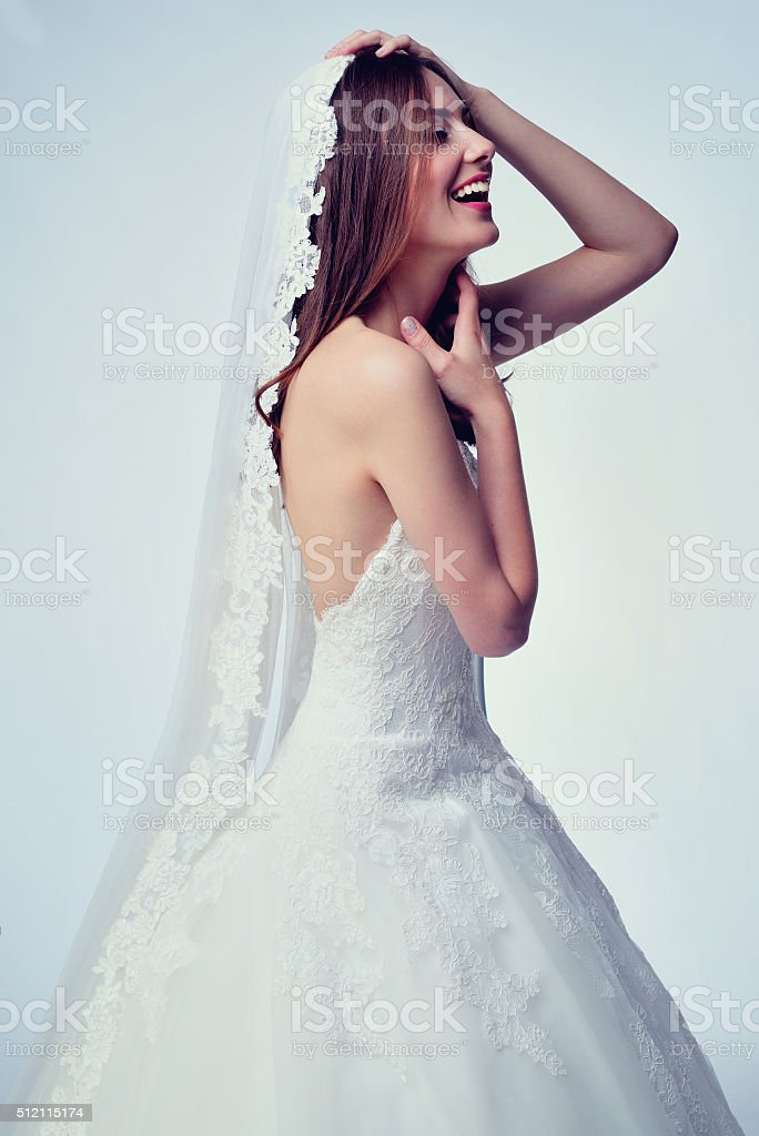 Beauty woman with wedding hairstyle and makeup. stock photo