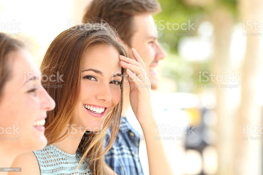 Beauty woman with white smile with friends stock photo