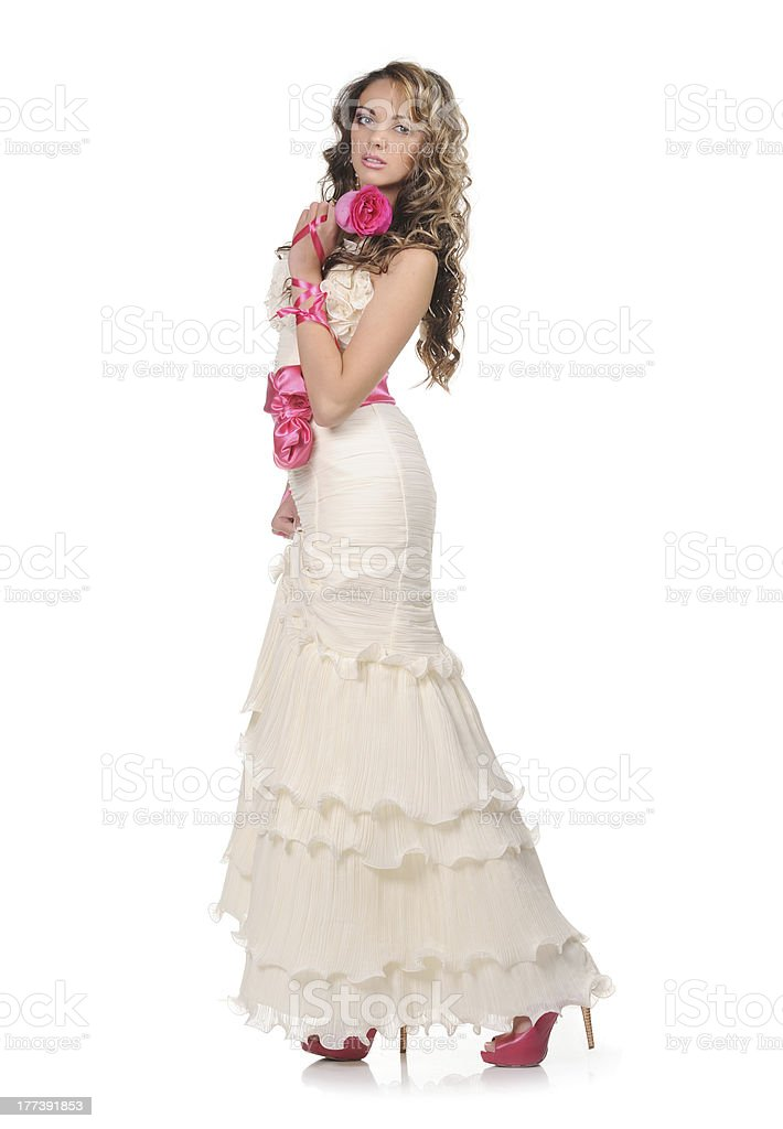 Beauty young bride dressed in elegance white wedding dress royalty-free stock photo