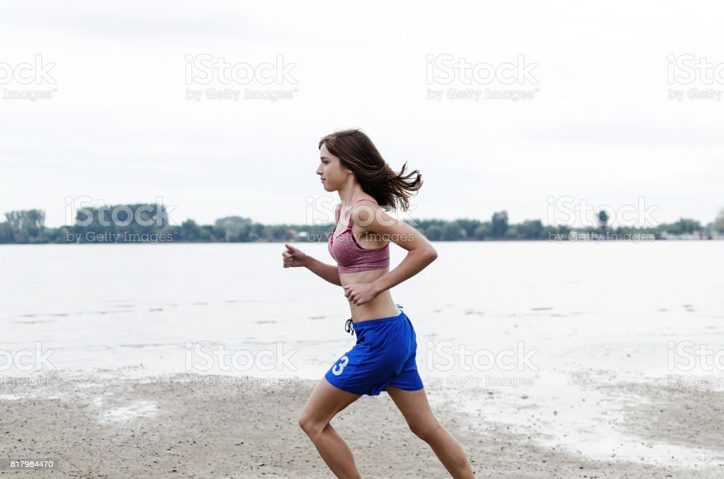 beauty young gir athlete is ready for marathon stock photo