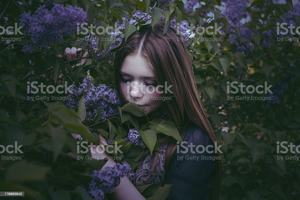 beauty young girl in fashion style smells lilac flowers outdoors royalty-free stock photo