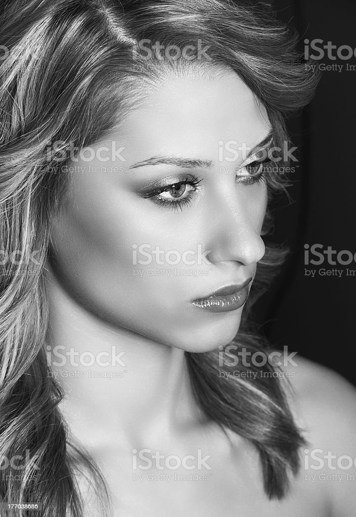 Beauty young model girl face stock photo