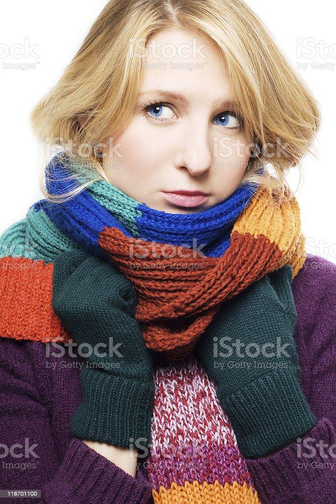 Belleza joven mujer enferma foto de stock libre de derechos