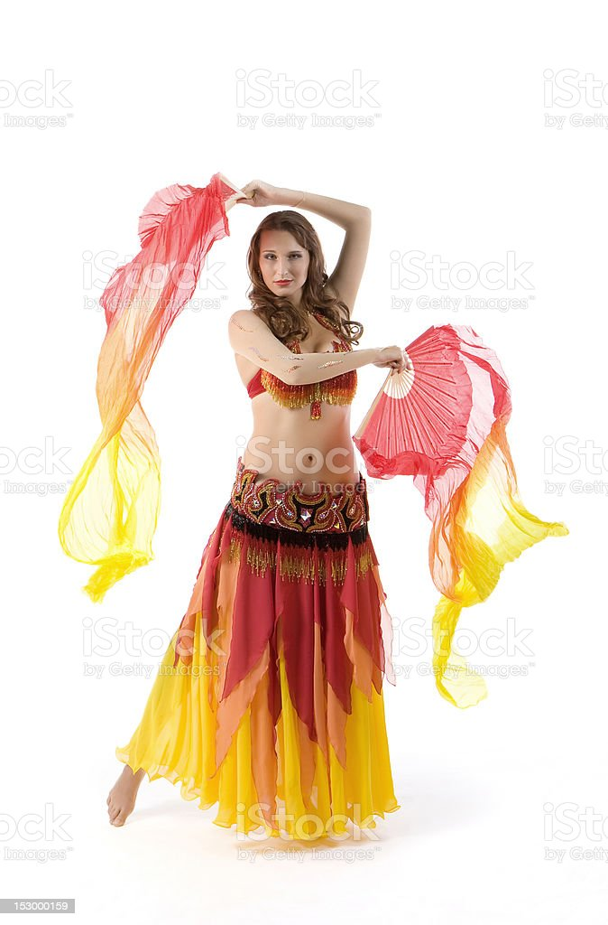 Beauty young woman dance with fantail stock photo