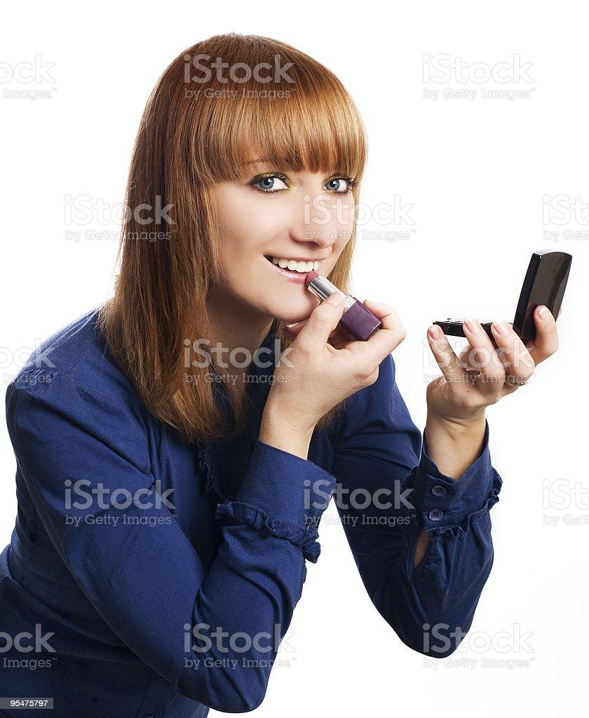 Belleza joven mujer maquillaje foto de stock libre de derechos