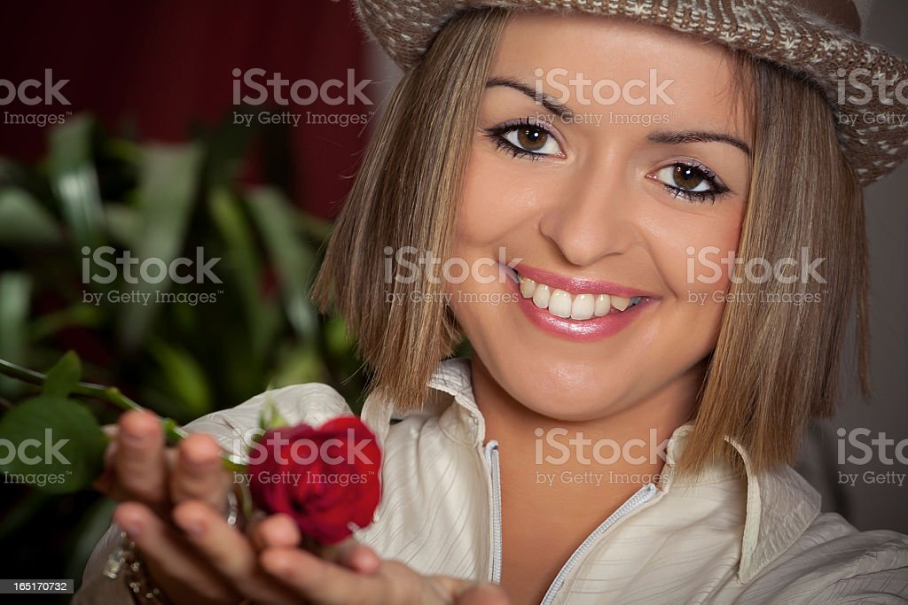 Beauty young woman portrait with rose royalty-free stock photo