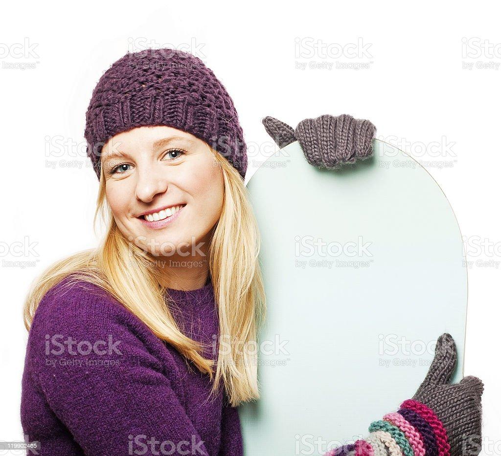 Belleza mujer joven con snowboard foto de stock libre de derechos