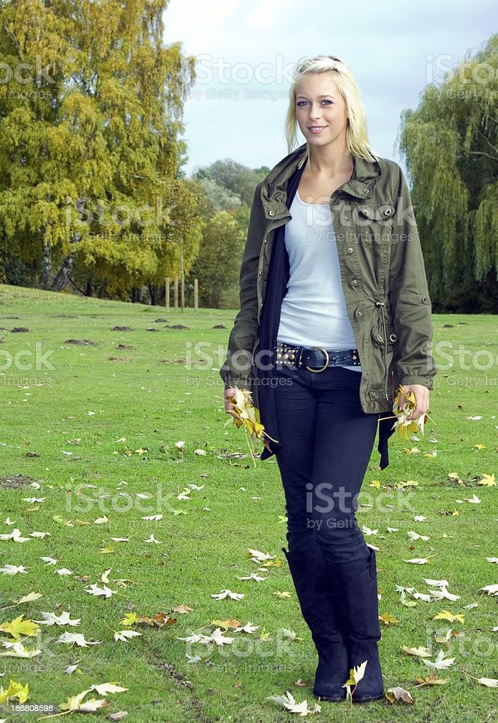 beautyful blond steenager  in autum royalty-free stock photo