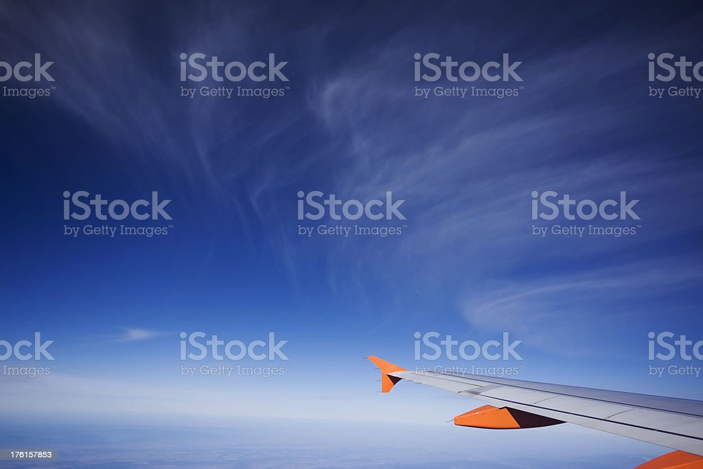 Beautyful Blue Sky and Airplane Wing royalty-free stock photo
