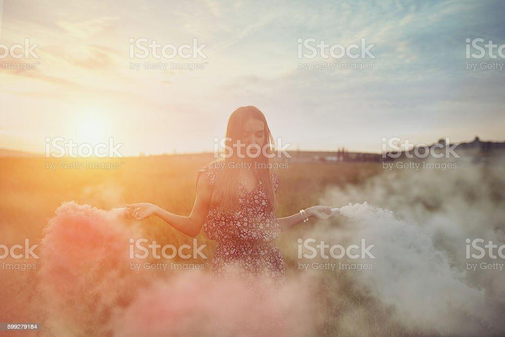 Beautyful teenage model girl outdoors enjoying nature stock photo