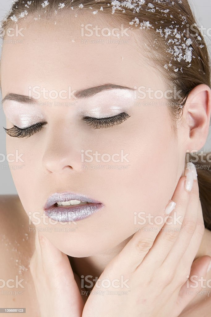 Beautyportrait with closed eyes stock photo