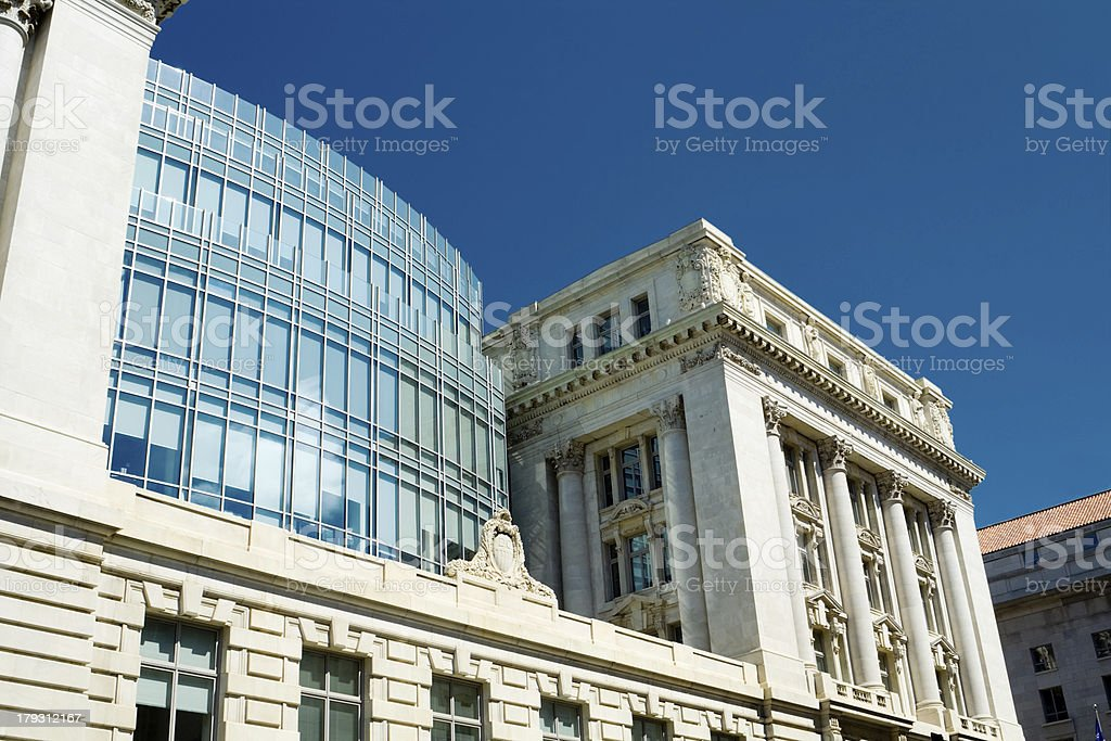 Beaux-Arts Style Wilson Building, City Hall, Washington DC, Blue Sky stock photo
