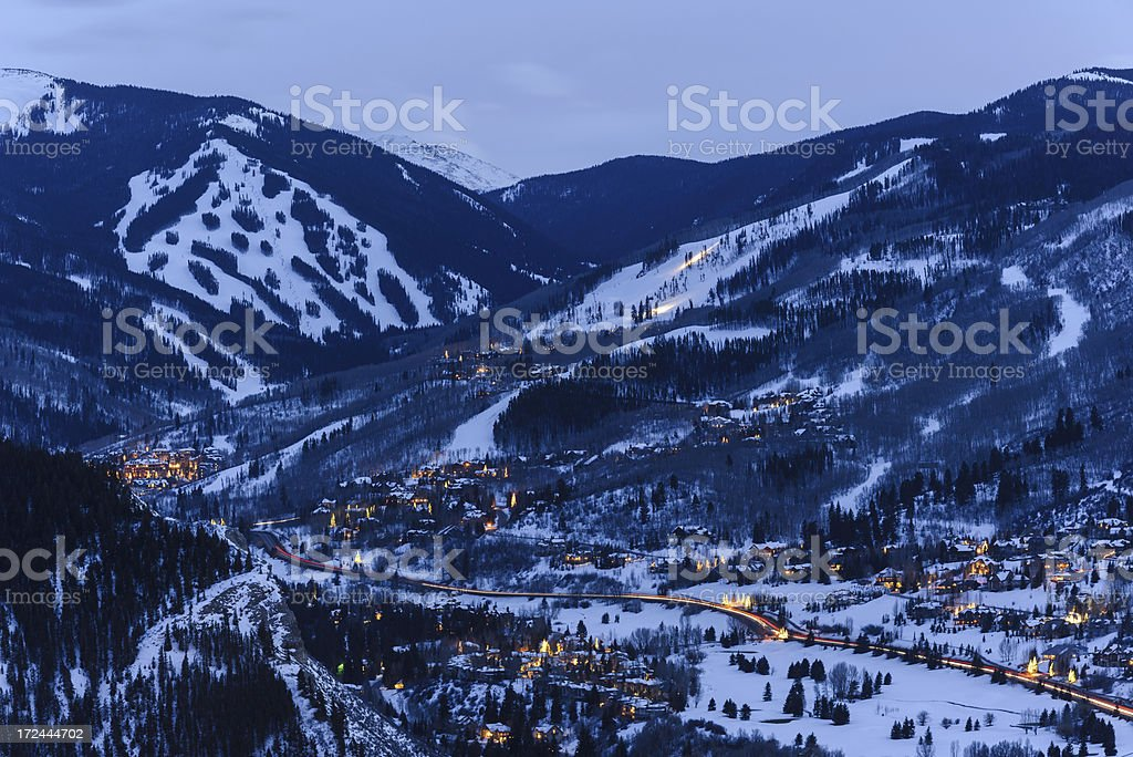 Beaver Creek Colorado at Dusk in Winter royalty-free stock photo
