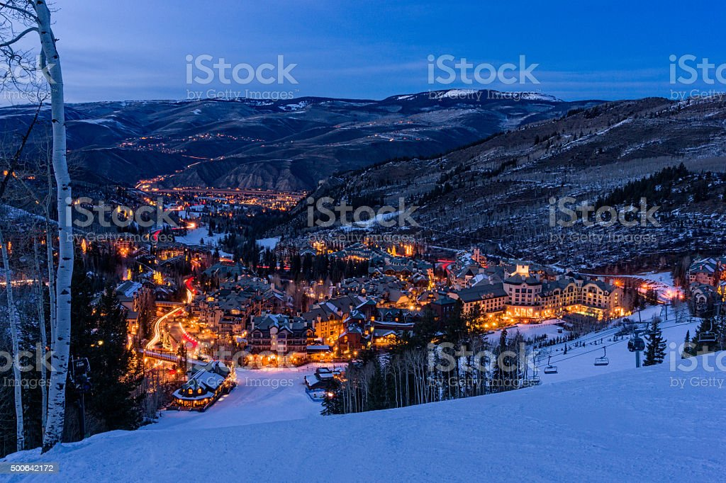 Beaver Creek Village Dusk stock photo