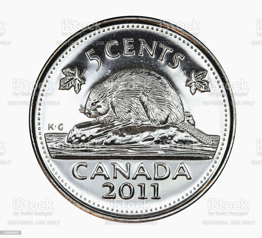 Beaver on Canadian nickel royalty-free stock photo
