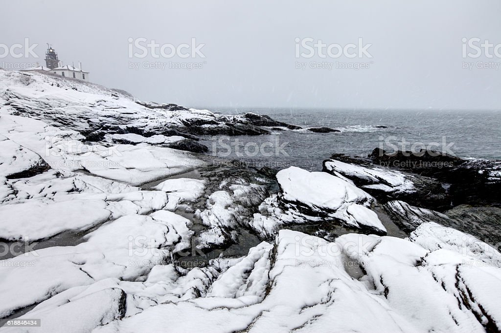 Beavertail Lighthouse near Newport in a Blizzard stock photo