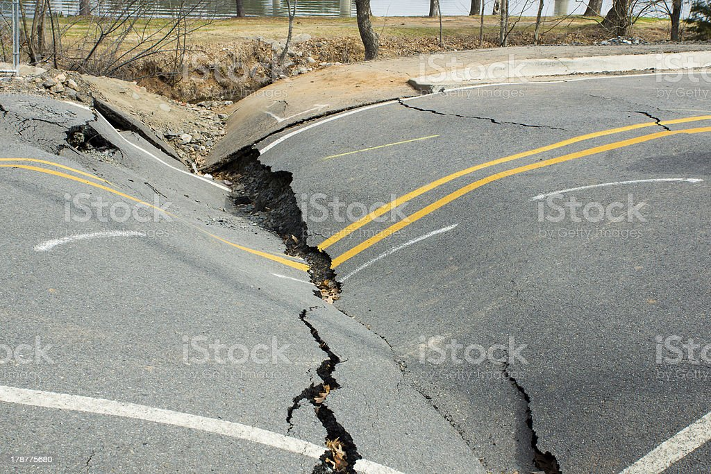 Because of violation  technology in the construction  roads stock photo