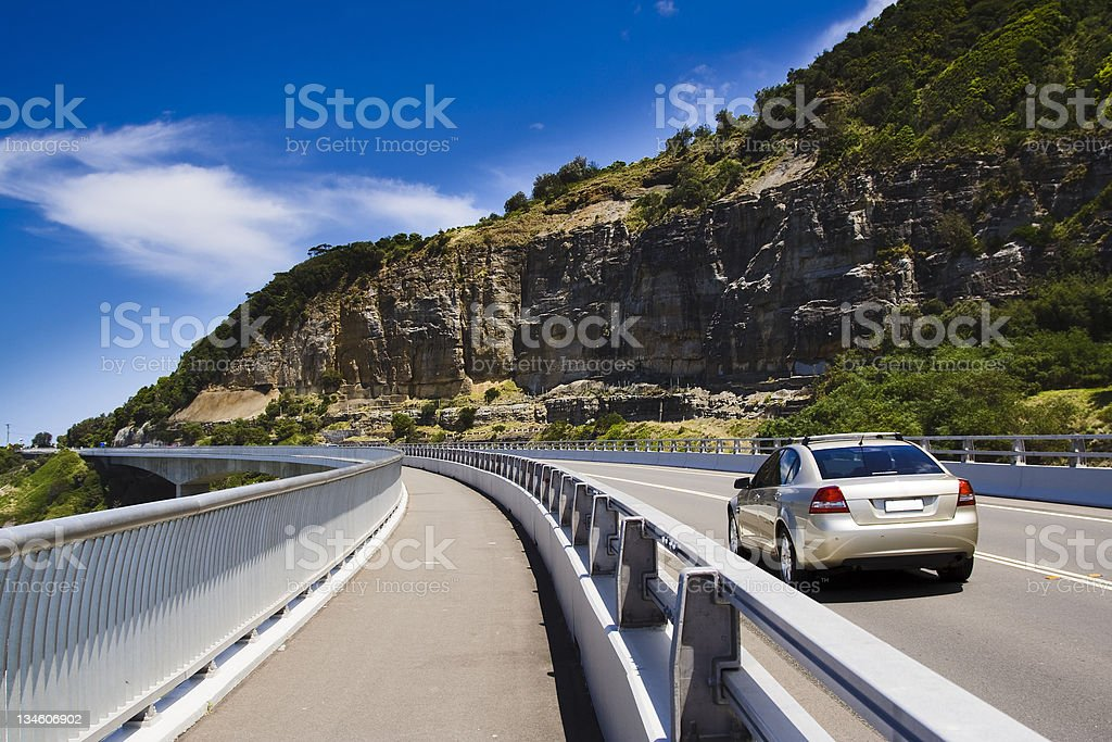 Car Au cliff road stock photo
