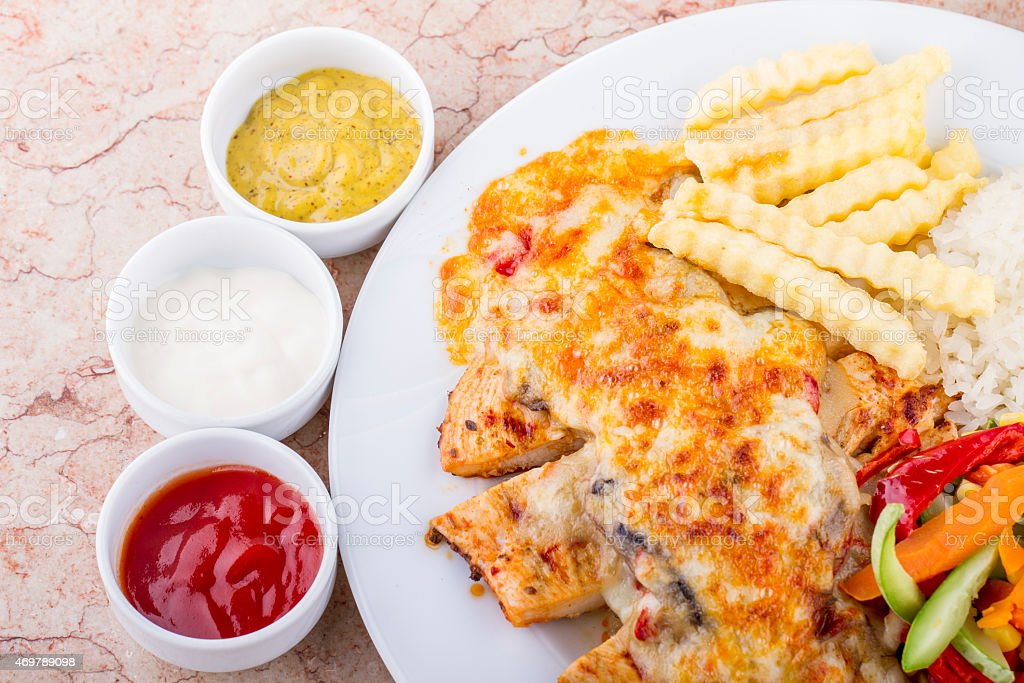 Bechamel Sauce and Cheese with Chicken ready to eat stock photo