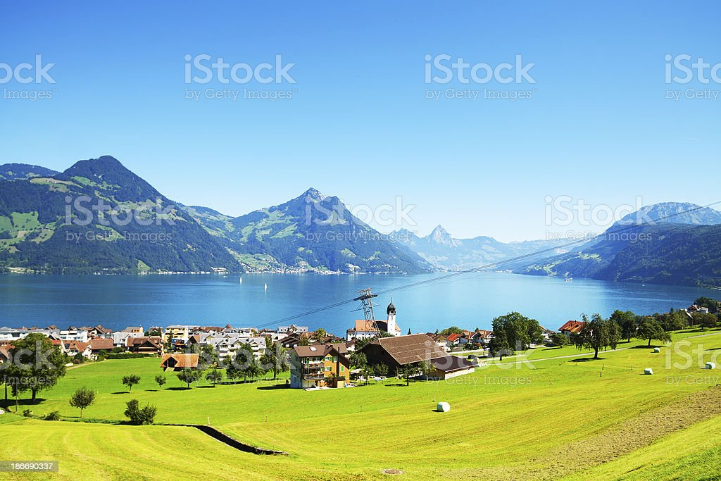 Beckenried at Lake Lucerne royalty-free stock photo