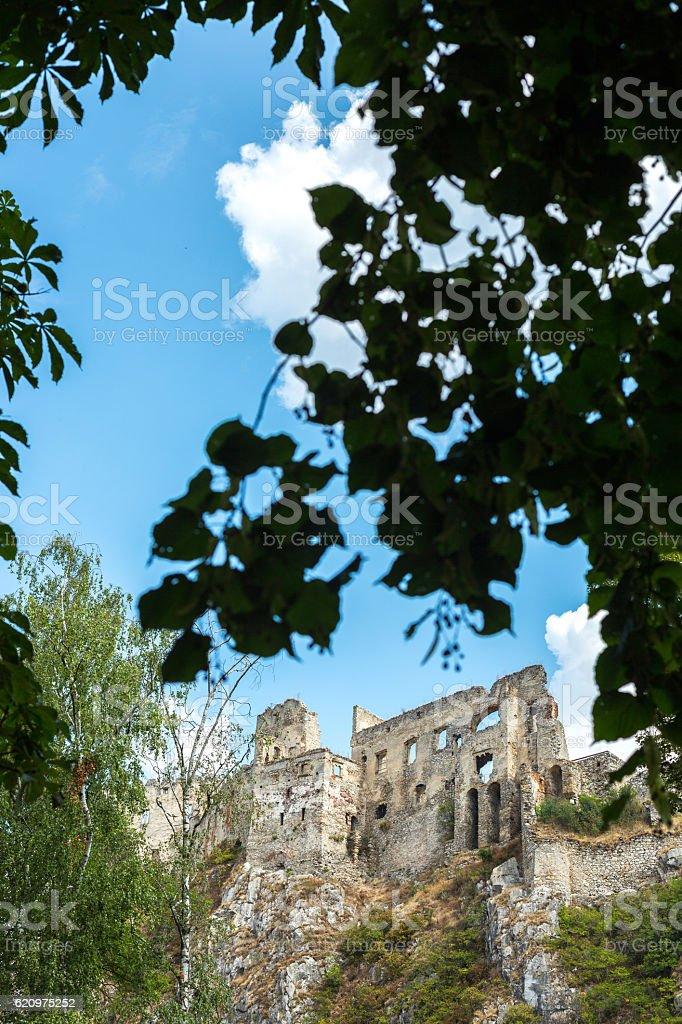 Beckov, Slovakia. Beckov castle. stock photo