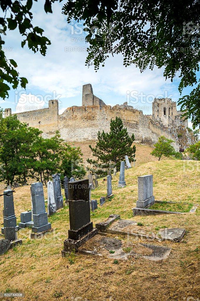 Beckov, Slovakia - castle and jewish cemetery stock photo