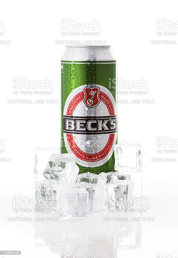 Beck's beer can with ices stock photo