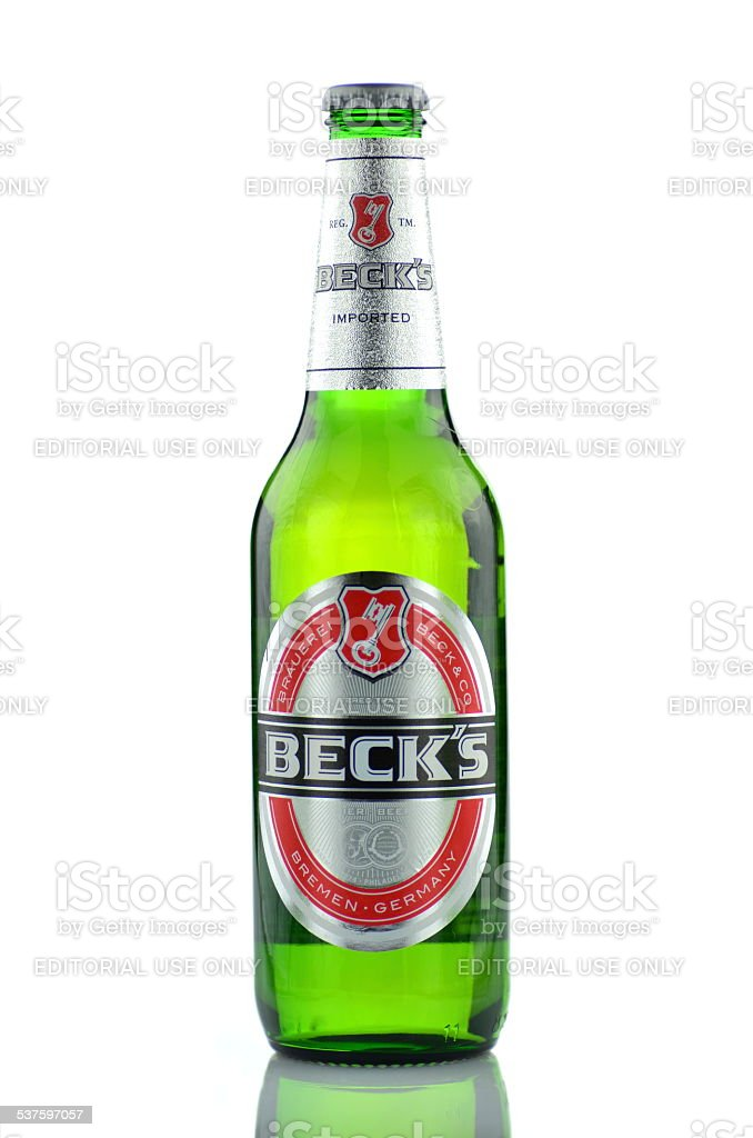 Becks beer isolated on white background stock photo
