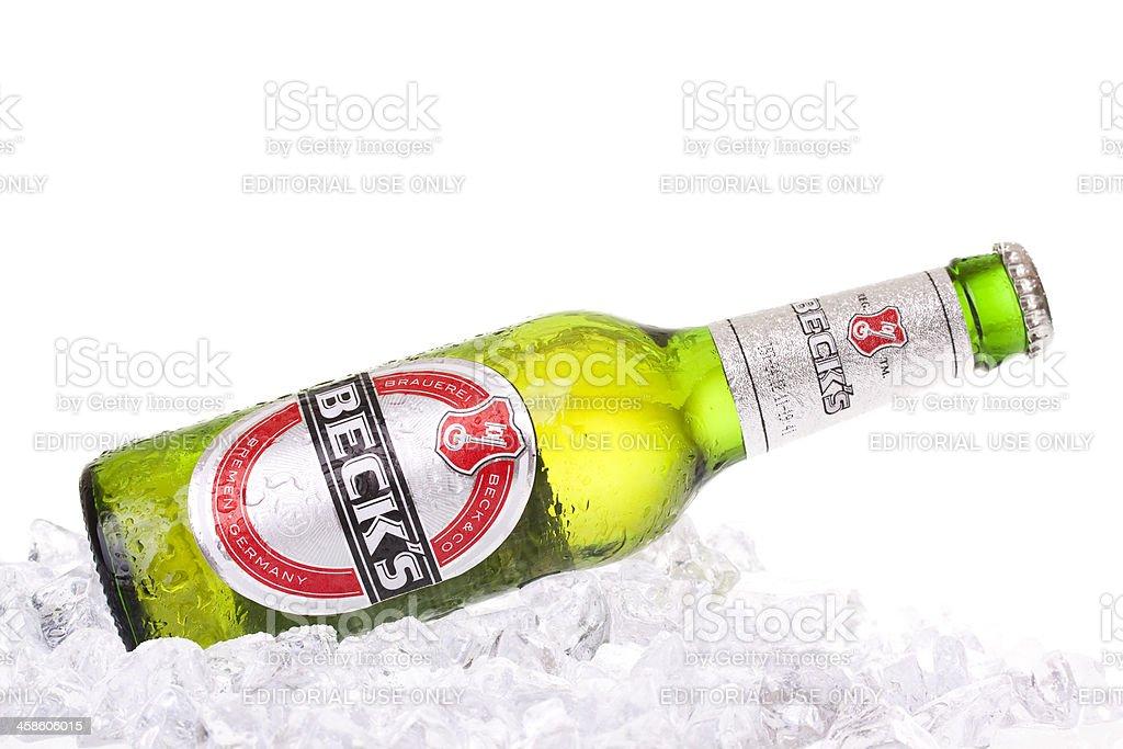 Beck's Bottle on ice stock photo