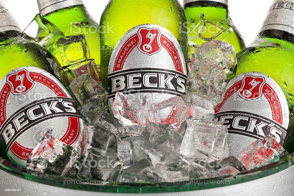 Beck's Bottles in Ice Bucket stock photo