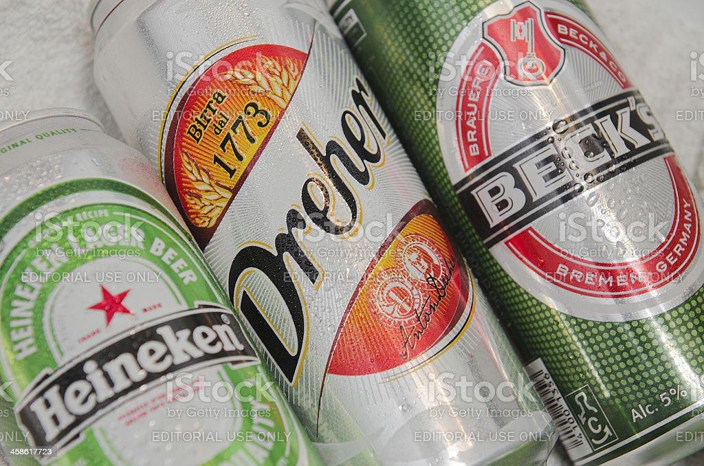 Becks, Heineken and Dreher beer Cans stock photo