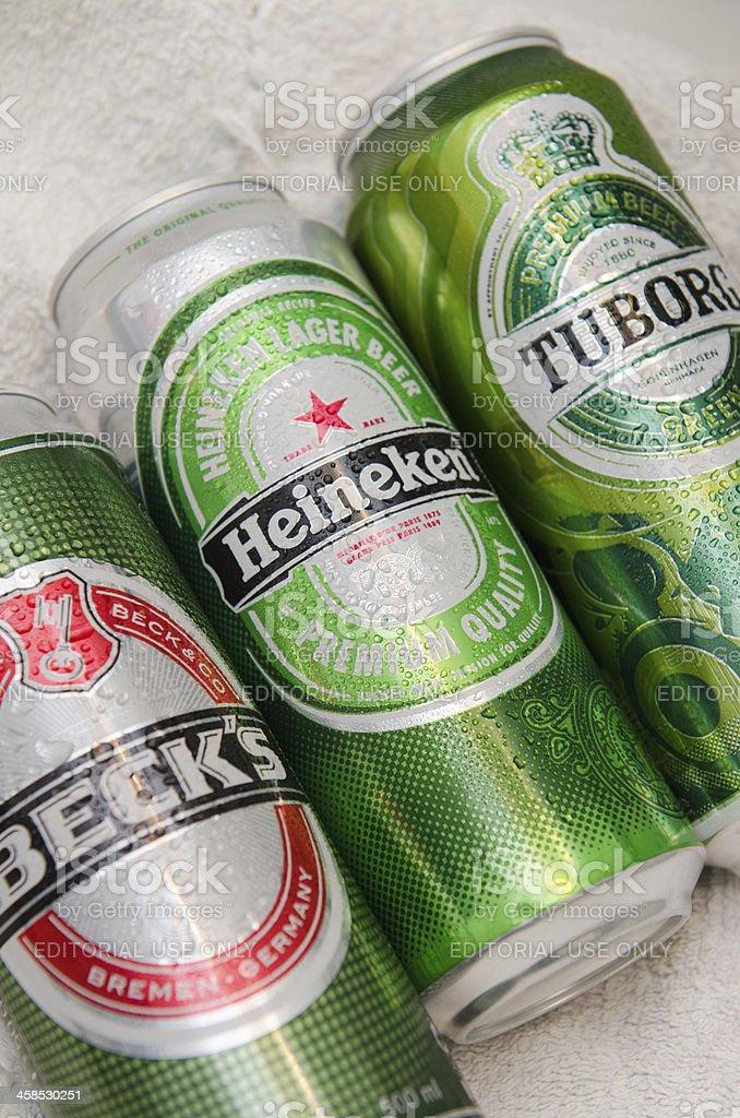 Becks, Heineken and Tuborg beer Cans stock photo