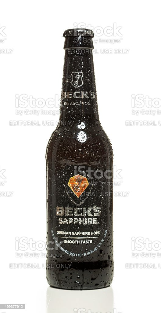 Beck's Sapphire beer bottle stock photo