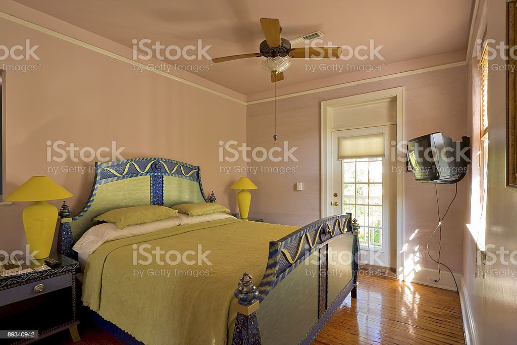 Bed and breakfast hotel room stock photo