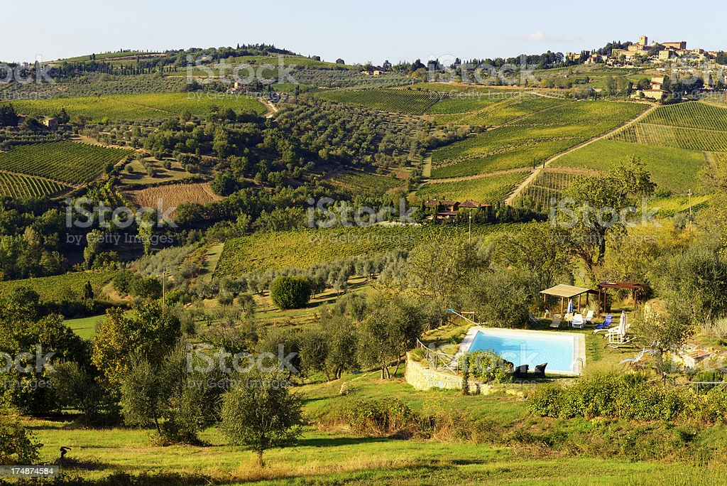 Bed And Breakfast W Swimming Pool in Tuscany royalty-free stock photo
