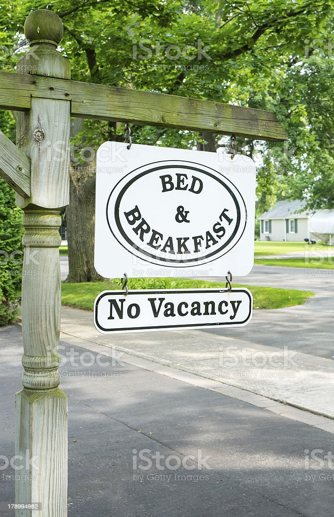 Bed & Breakfast Sign with No Vacancy stock photo