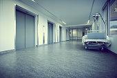 Bed hallway clinic empty