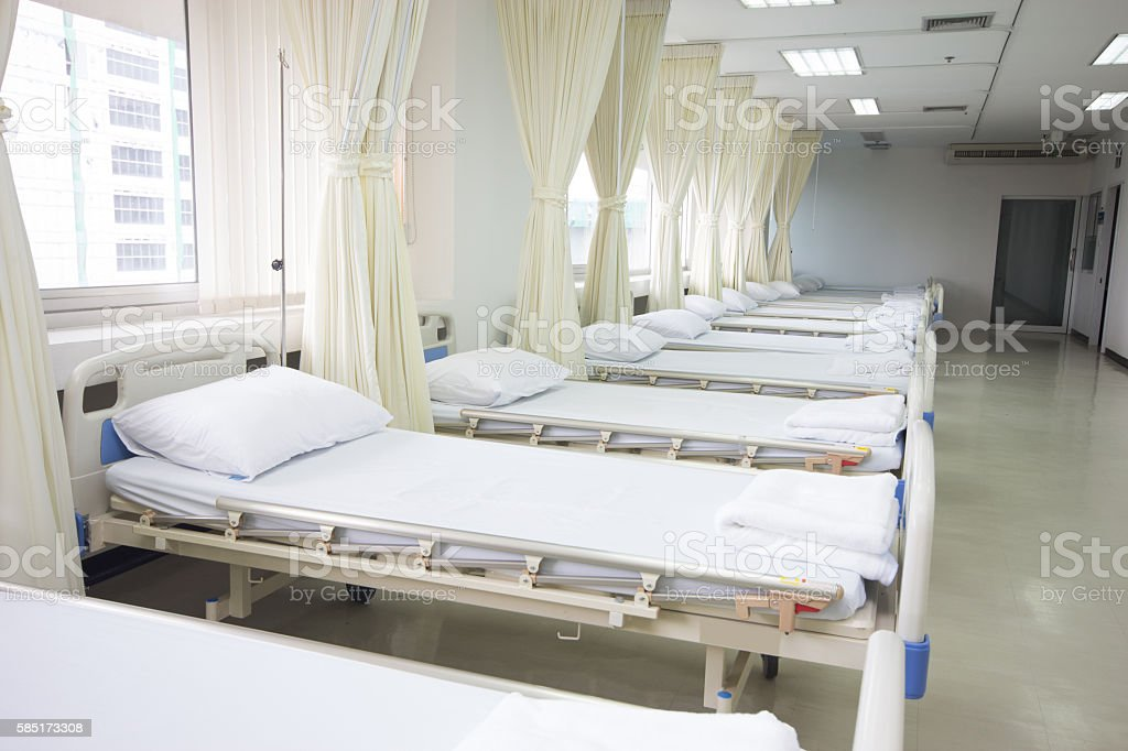 Bed in hospital stock photo