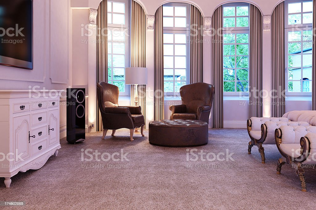 Bed in luxury Interior royalty-free stock photo