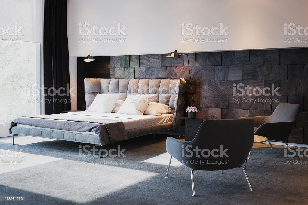 Bed in luxury Interior stock photo