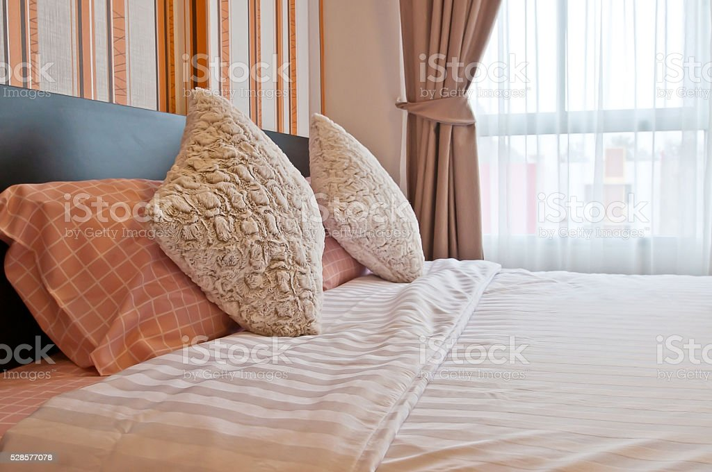 Bed in the resort,Bedroom ready for guests stock photo